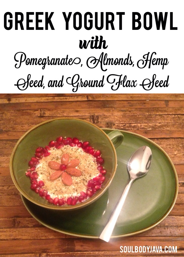 Greek Yogurt Bowl with Pomegranate, Almond, Hemp Seed, and Ground Flax ...